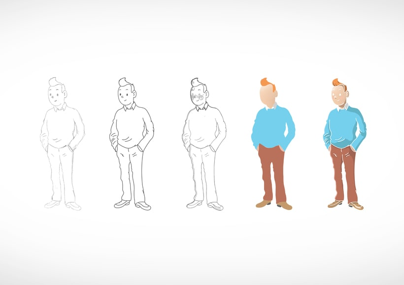 """Diseño de personajes de """"Las Aventuras de Tintín"""" -1"""