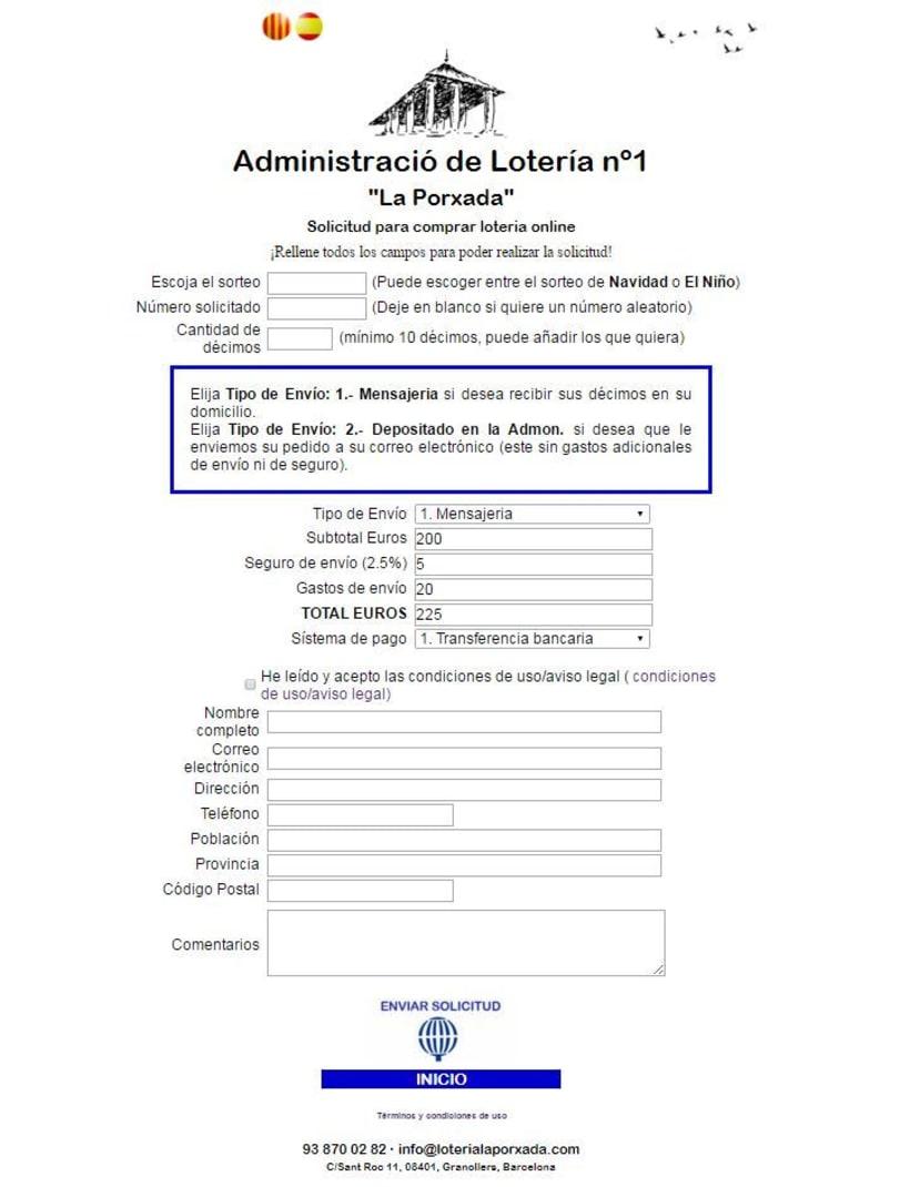 Diseño Web Responsive Loteria LA PORXADA -1
