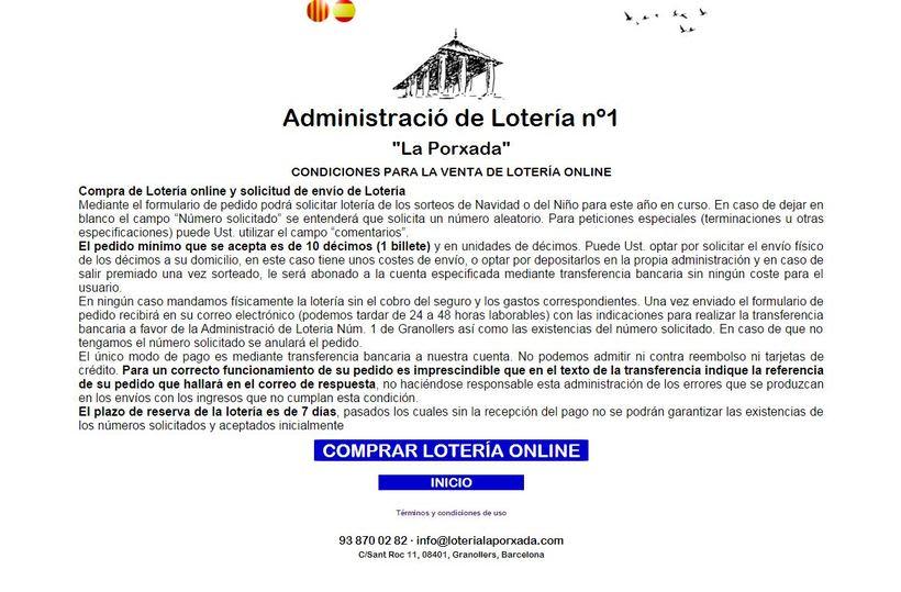Diseño Web Responsive Loteria LA PORXADA 0