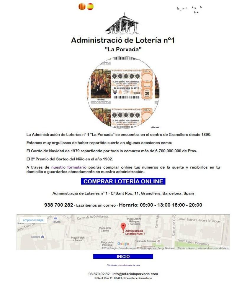 Diseño Web Responsive Loteria LA PORXADA 2