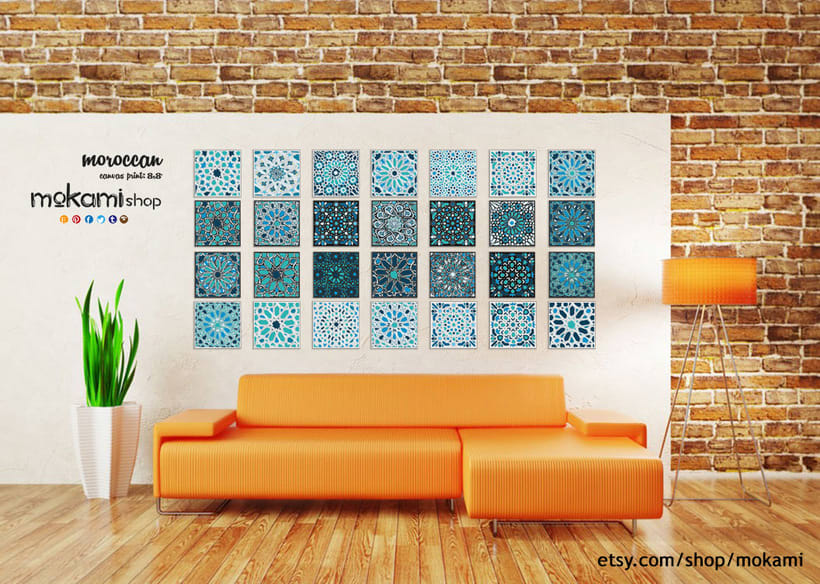 Moroccan canvases wall decor by Mokami Design 3