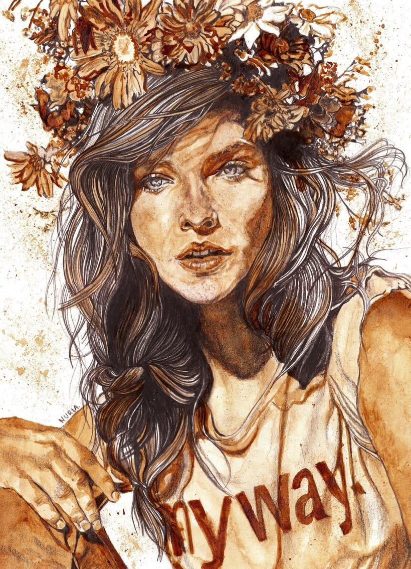 """""""Floral crowns"""" - Ilustraciones con café 0"""