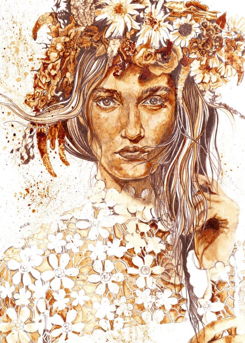 """""""Floral crowns"""" - Ilustraciones con café 1"""