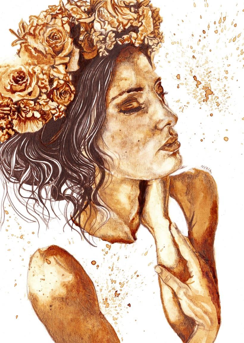 """""""Floral crowns"""" - Ilustraciones con café 2"""