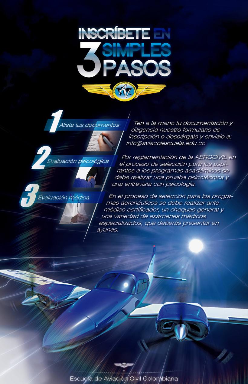 Flyer de presentación de escuela de aviación Aviacol (cara posterior) 1