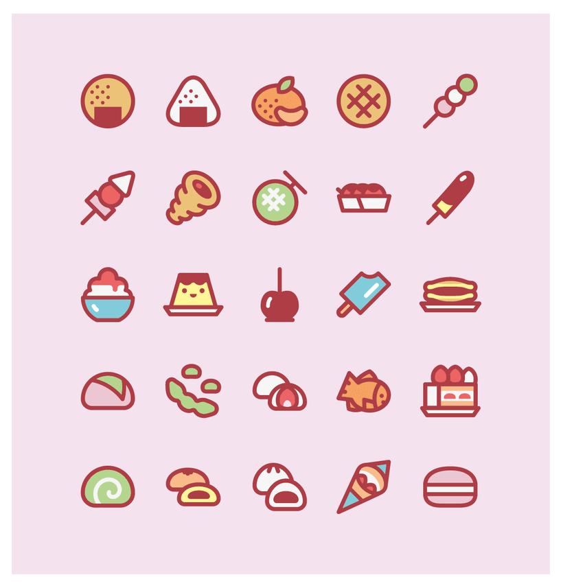 Snacks japanese people enjoy - an icon set 1