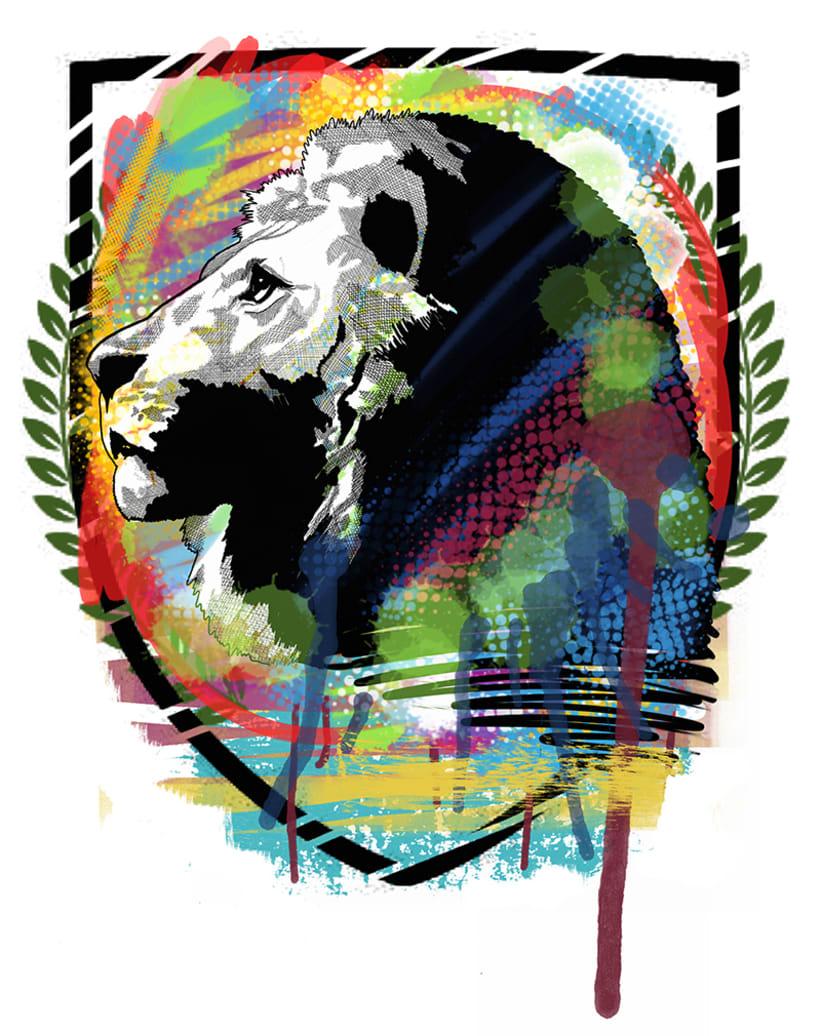 """Ilustración """"Lion & Colors"""" 2"""