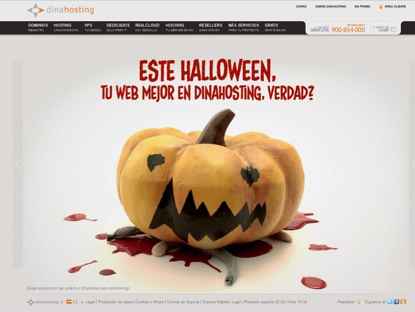 animación para la empresa Dinahosting, para su campaña de Halloween: https://www.youtube.com/watch?v=uvI9j9SBu3s -1