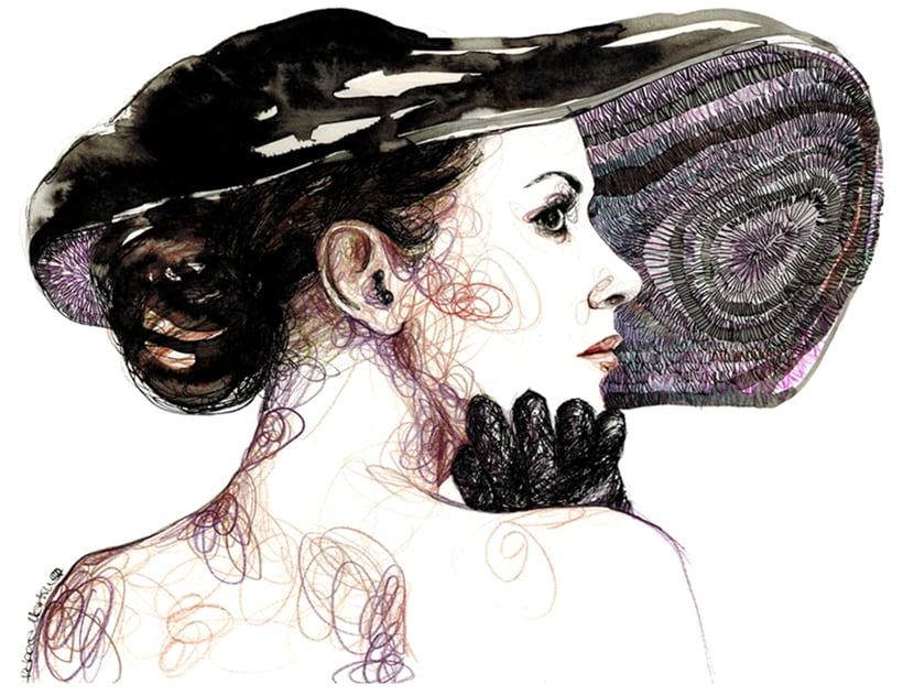 FASHION I: Ilustraciones inspiradas en fotografías de moda. Técnica mixta: acuarela, pilot, lápices de colores. 1