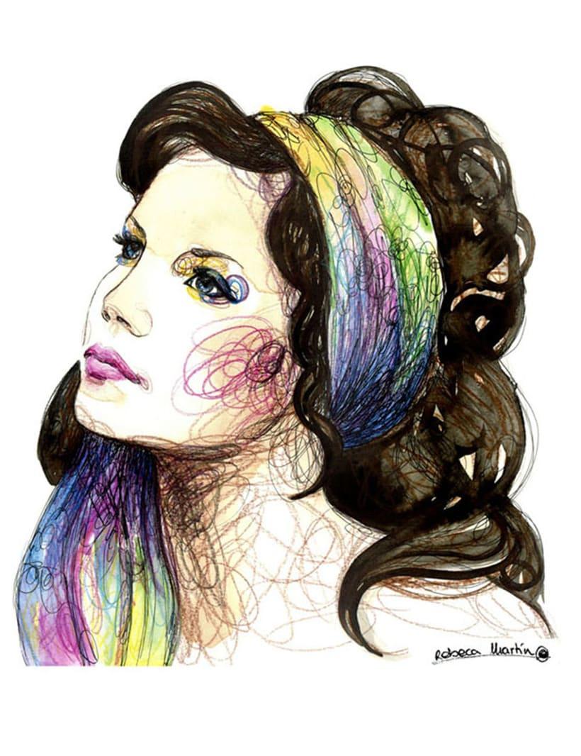 FASHION I: Ilustraciones inspiradas en fotografías de moda. Técnica mixta: acuarela, pilot, lápices de colores. 2