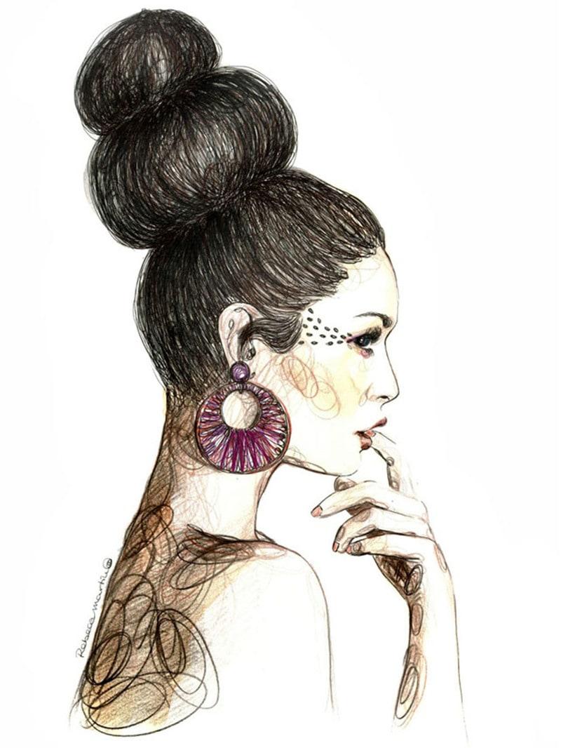 FASHION I: Ilustraciones inspiradas en fotografías de moda. Técnica mixta: acuarela, pilot, lápices de colores. 3