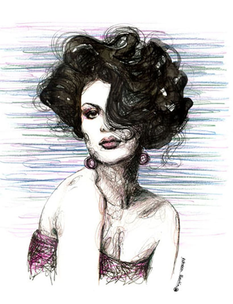 FASHION I: Ilustraciones inspiradas en fotografías de moda. Técnica mixta: acuarela, pilot, lápices de colores. 4