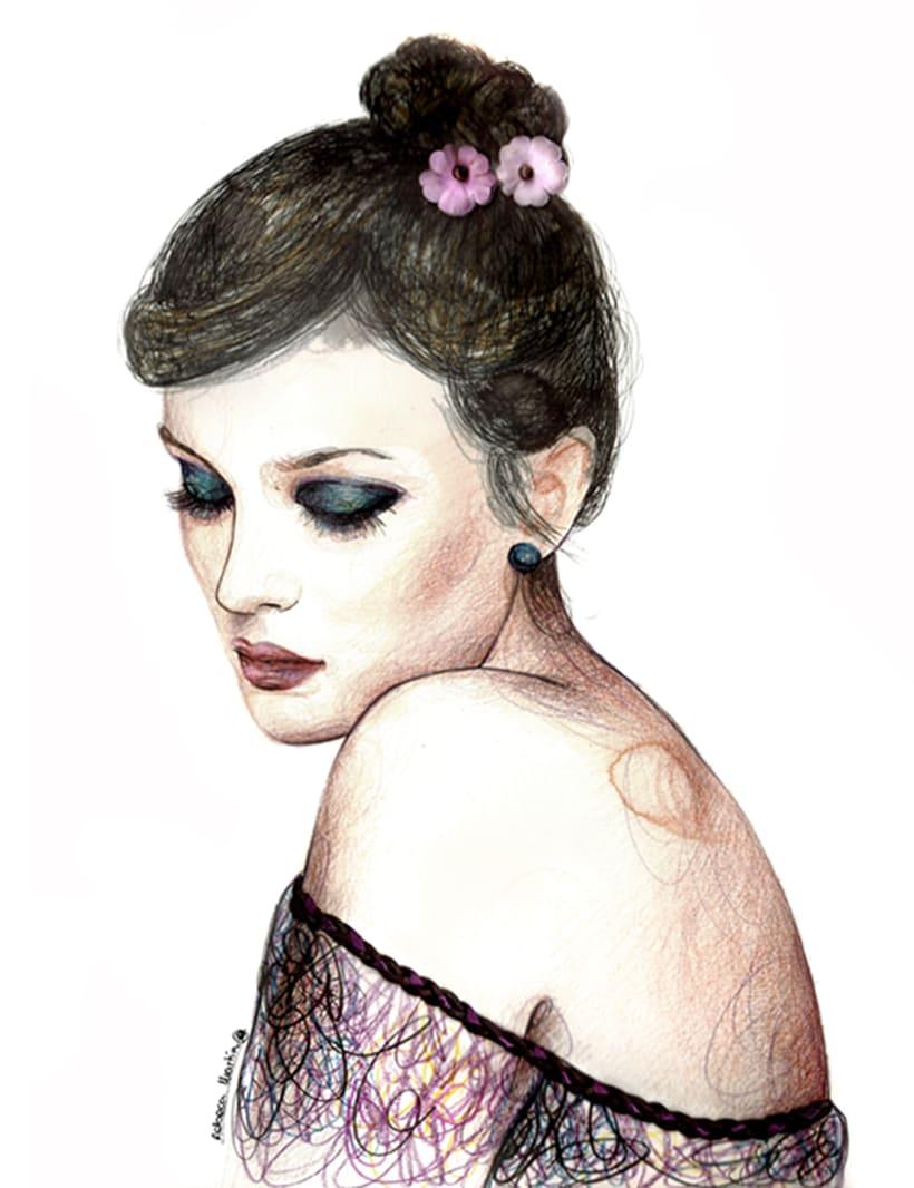 FASHION I: Ilustraciones inspiradas en fotografías de moda. Técnica mixta: acuarela, pilot, lápices de colores. 5