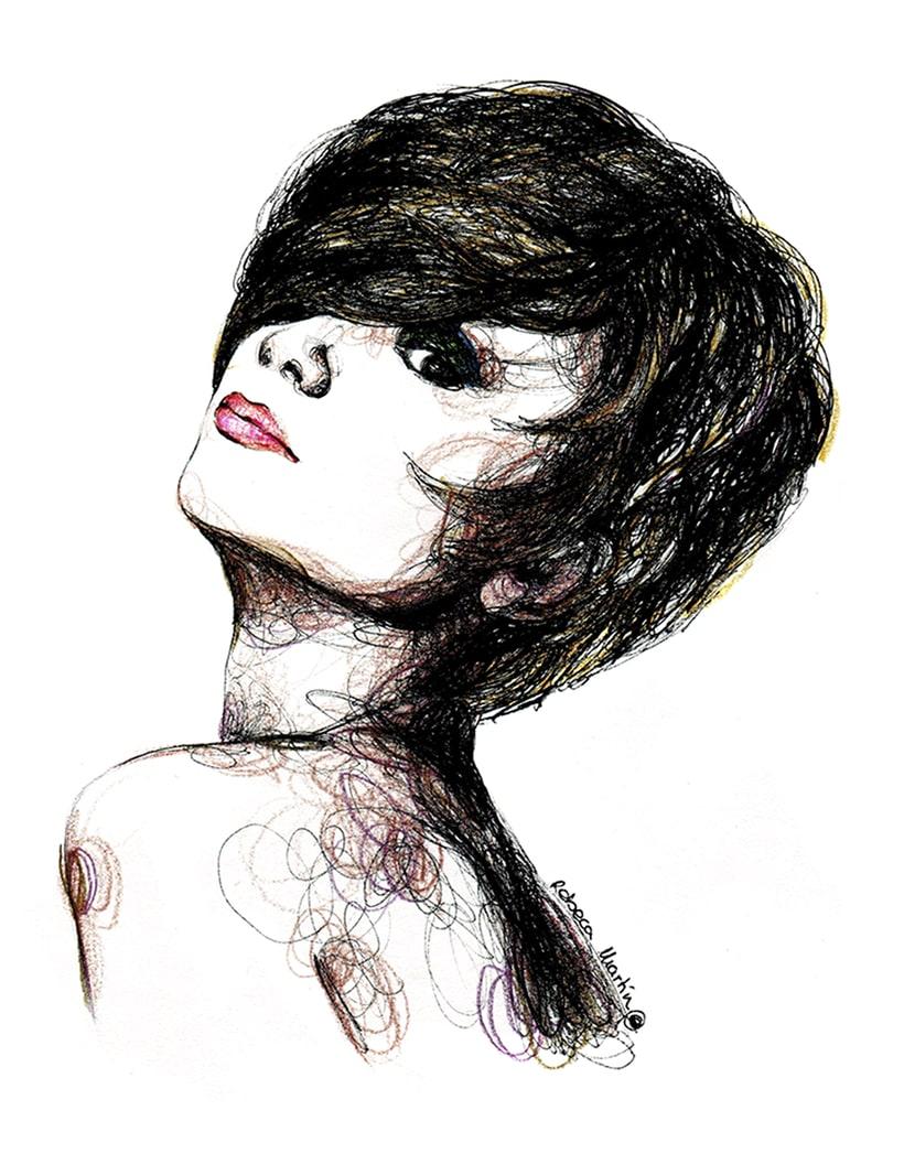 FASHION I: Ilustraciones inspiradas en fotografías de moda. Técnica mixta: acuarela, pilot, lápices de colores. 0