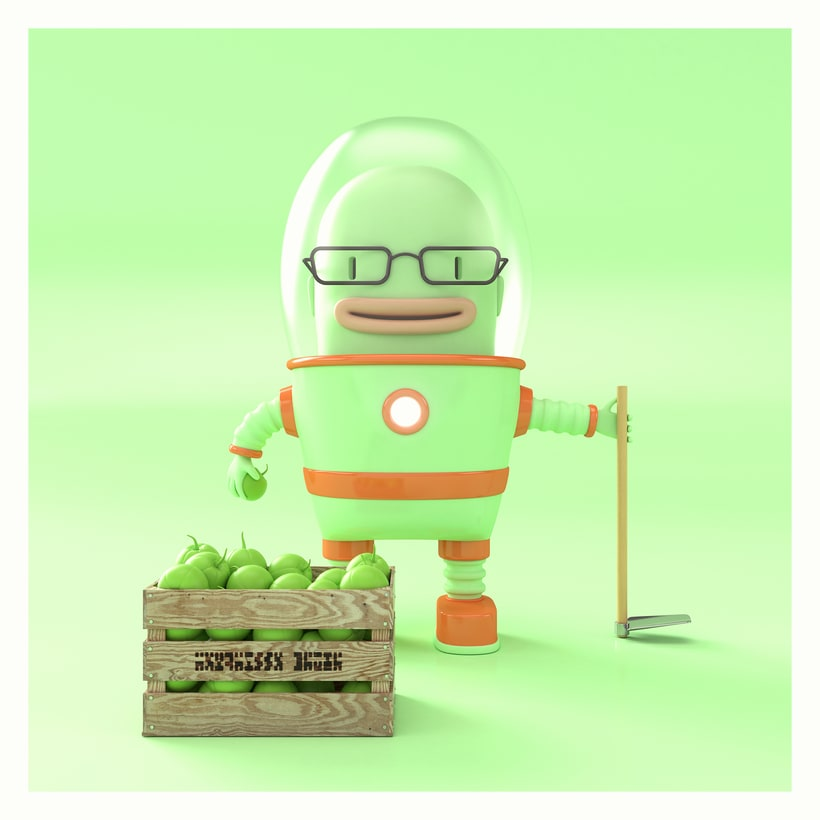 Alienígena agricultor de tomatillo verde. -1