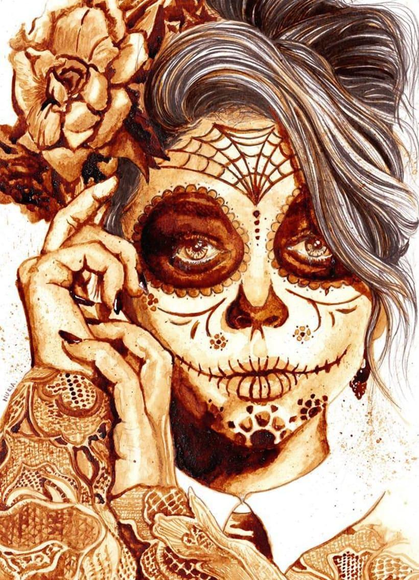 """""""Sugar Skull"""" - Ilustraciones con café 0"""