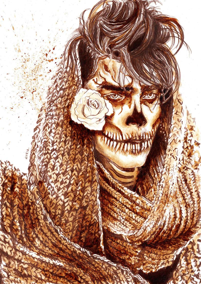 """""""Sugar Skull"""" - Ilustraciones con café 1"""