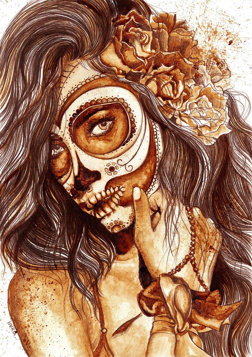 """""""Sugar Skull"""" - Ilustraciones con café 2"""