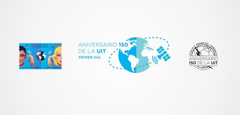 Aniversario 150 de la UIT. Sello postal 2