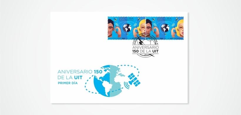 Aniversario 150 de la UIT. Sello postal 1