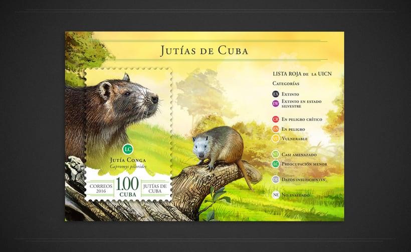 Jutías de Cuba. Sello postal 1