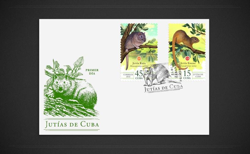 Jutías de Cuba. Sello postal 2