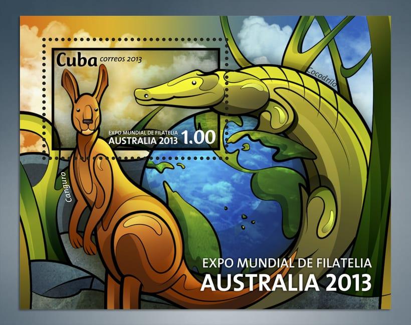 Expo Mundial de Filatelia Australia 2013. Sello postal 3
