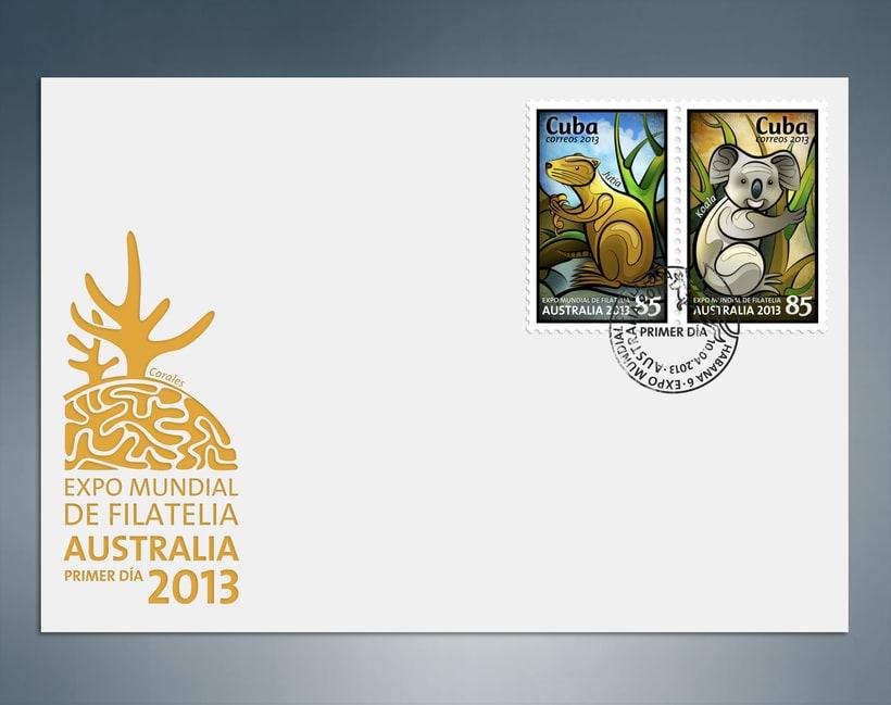 Expo Mundial de Filatelia Australia 2013. Sello postal 4