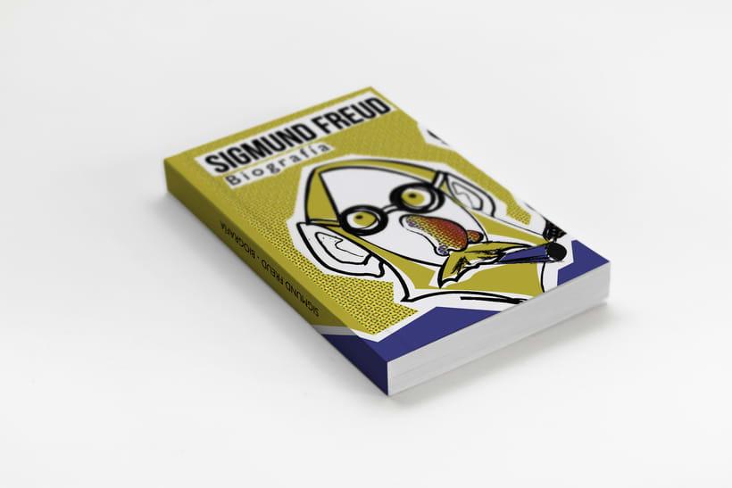 Maquetación de la portada y contraportada de un libro inventado sobre Freud. 0