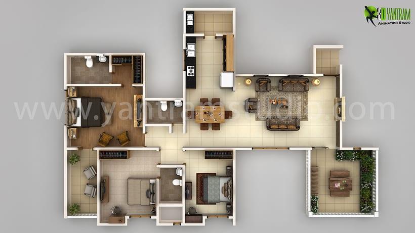 Planta 3D moderno plan detallado del Creador 0