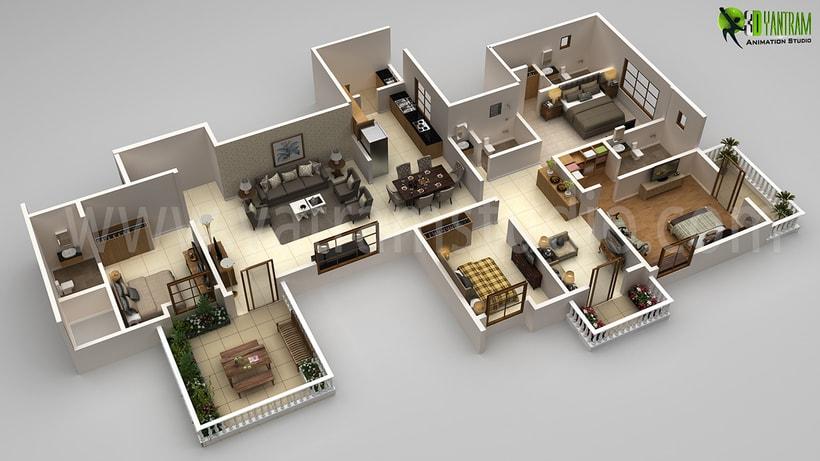Planta 3D moderno plan detallado del Creador 2