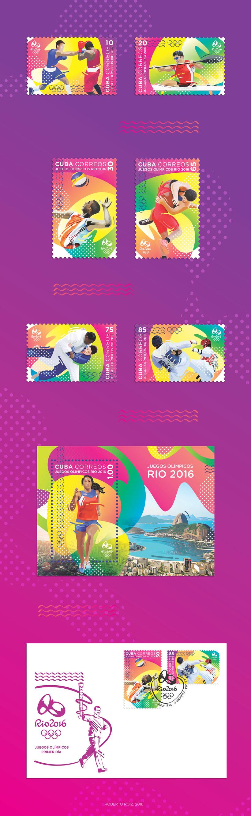 Juegos Olímpicos Rio 2016. Sello postal -1