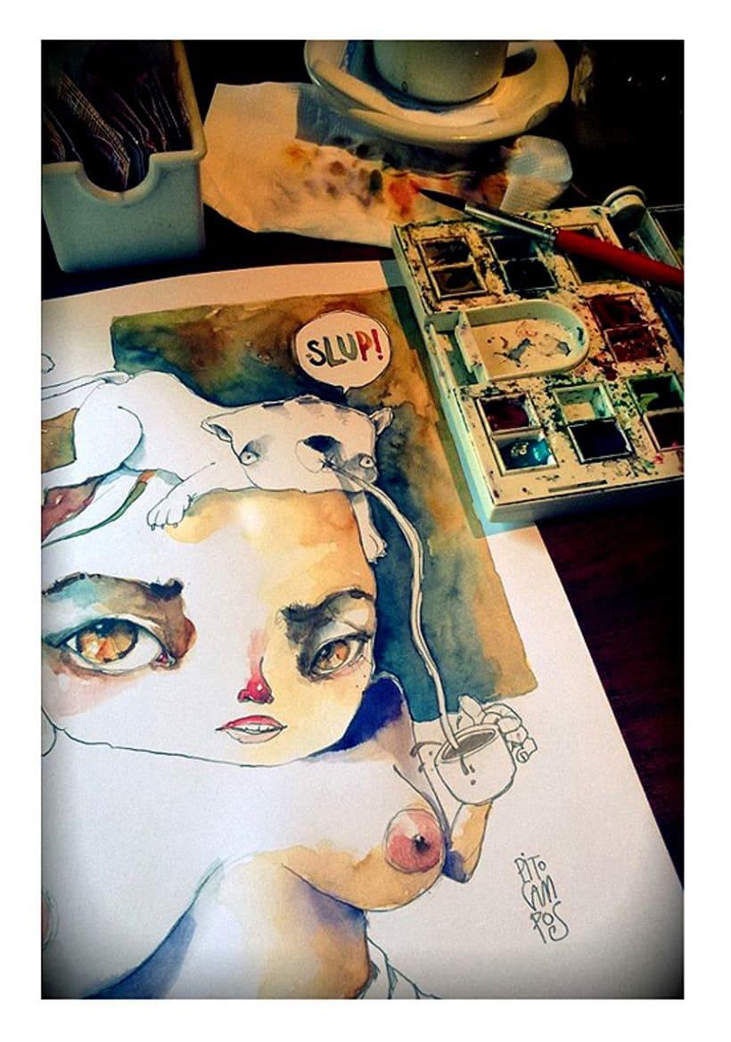 Acuarelas que mancho en Bares - Sketch Café -1