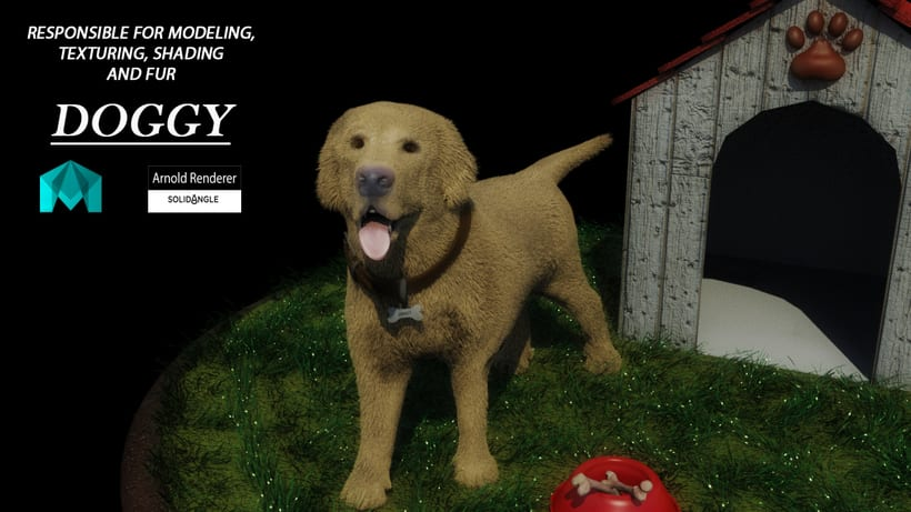 doggy created with maya xgen, part of my final proyect in master 3dmaya 0