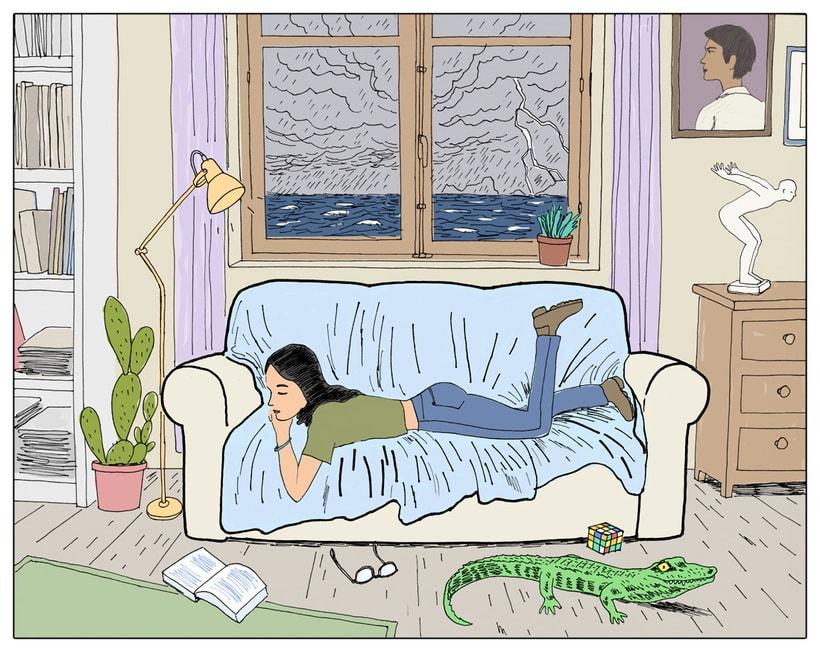 Mujer en el sofa con cocodrilo -1