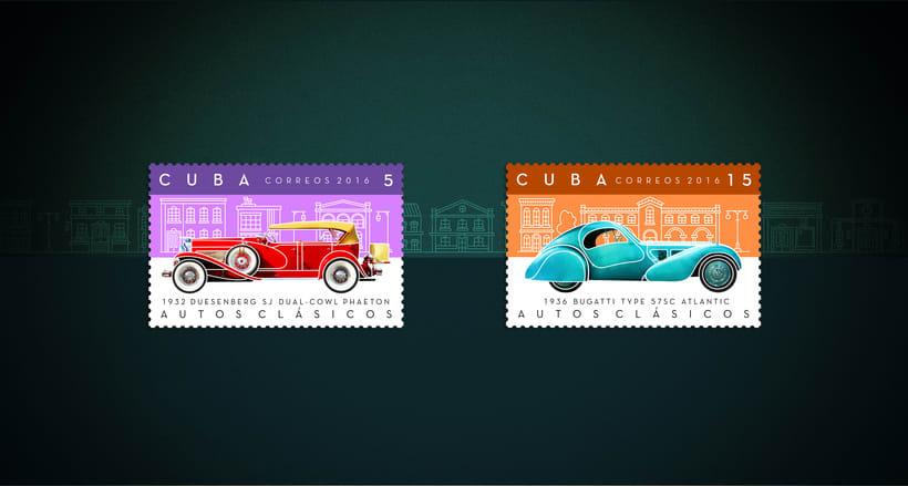 Autos clásicos. Sello postal -1