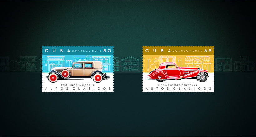 Autos clásicos. Sello postal 0