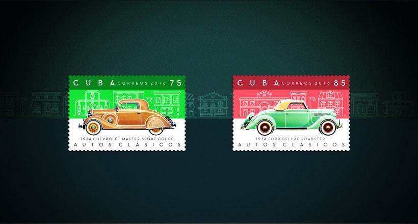 Autos clásicos. Sello postal 1