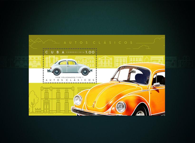 Autos clásicos. Sello postal 2