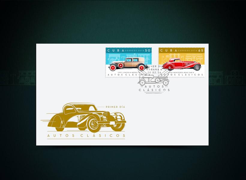 Autos clásicos. Sello postal 3