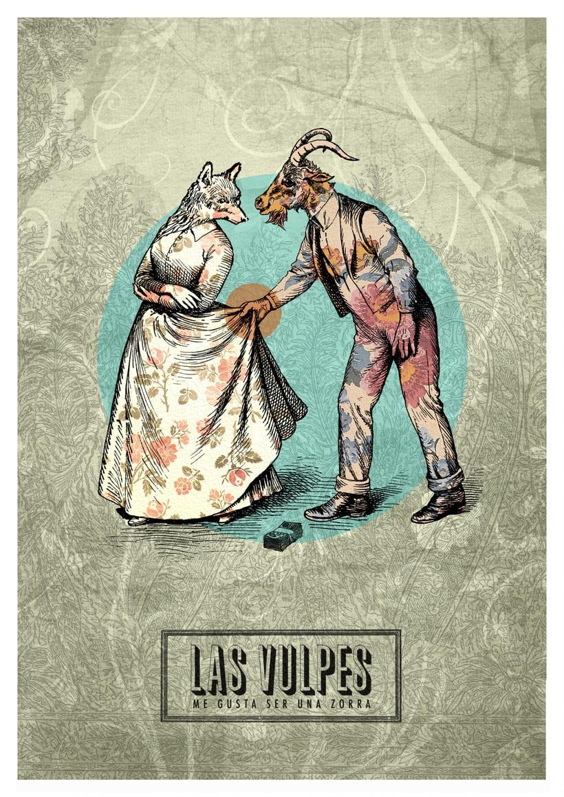 Cartelismo ilustrado. Cartel para el grupo de punk Las Vulpes. 1