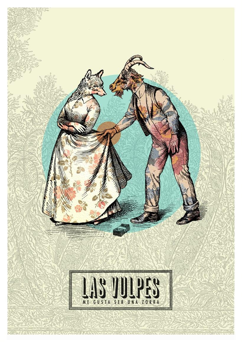 Cartelismo ilustrado. Cartel para el grupo de punk Las Vulpes. 2