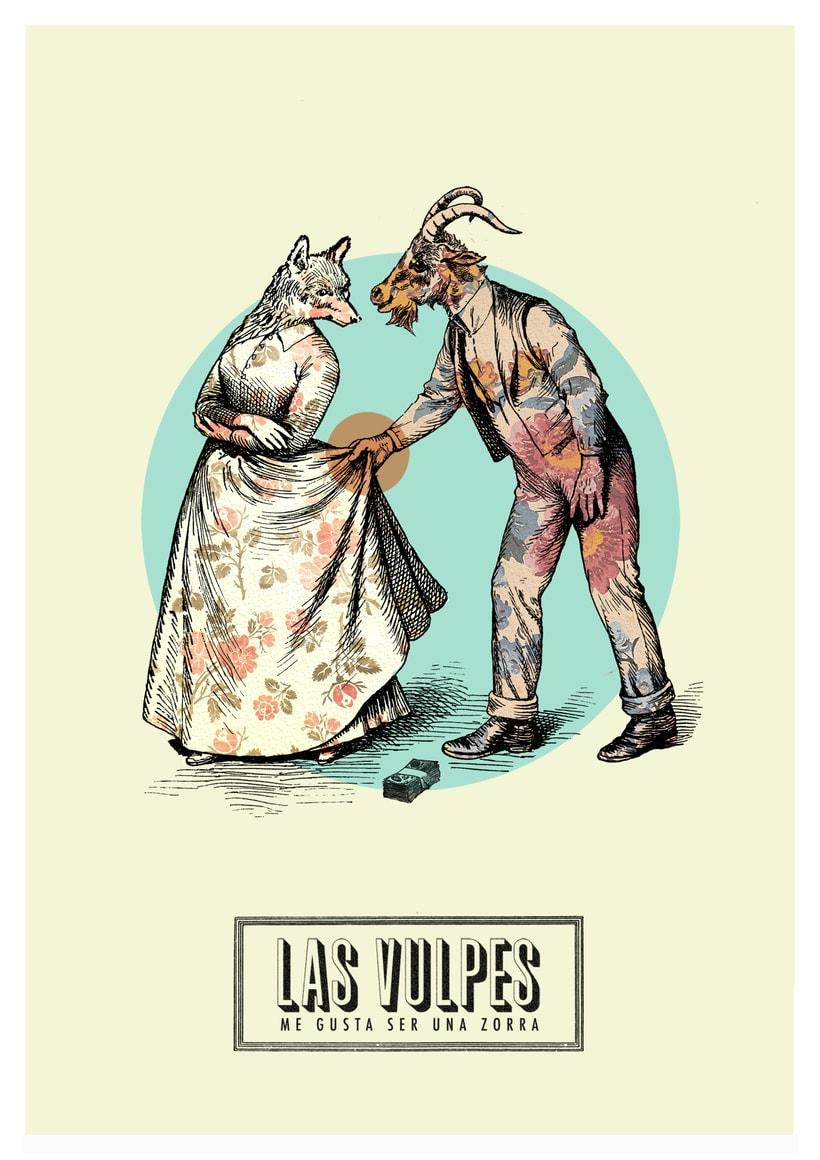 Cartelismo ilustrado. Cartel para el grupo de punk Las Vulpes. 3