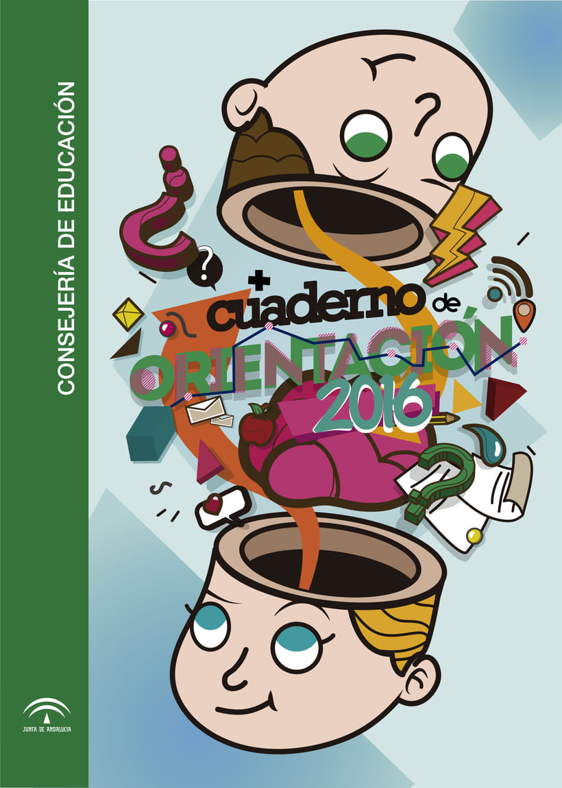 Diseño de portada para cuaderno de orientación de la Junta de Andalucía 1