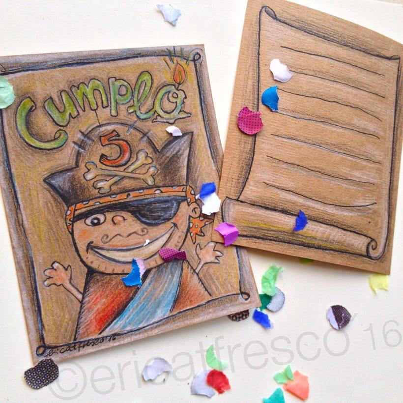 Invitaciones ilustradas para fiesta de cumpleaños... ¡Pirata!  2