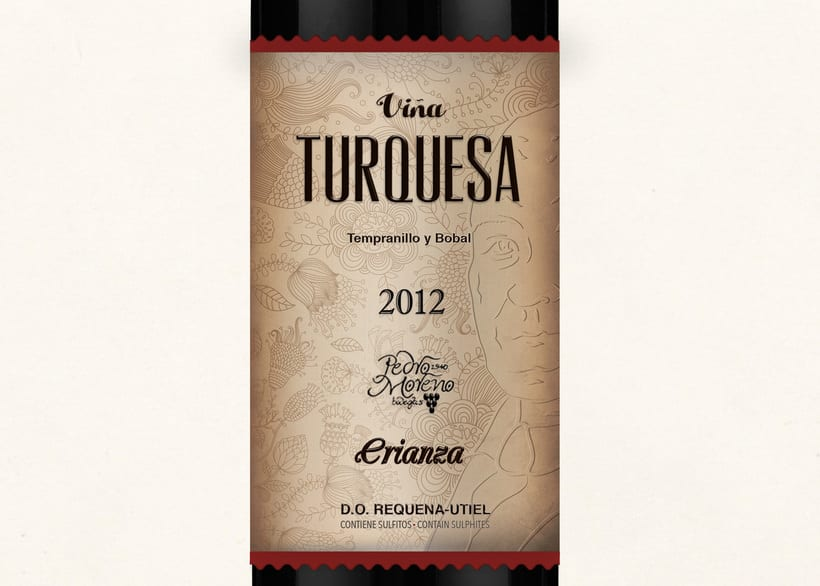 Wine Label Design: Viña Turquesa Crianza (Bodegas Pedro Moreno 1940) 5