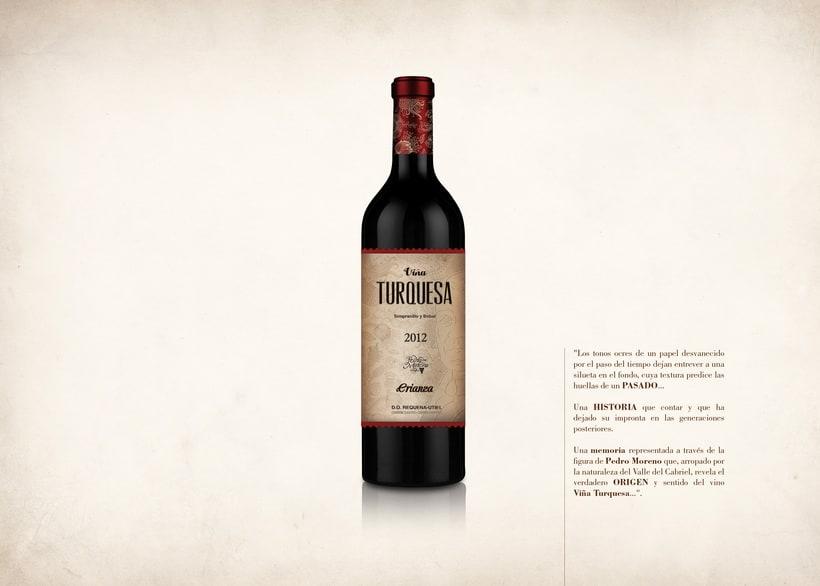 Wine Label Design: Viña Turquesa Crianza (Bodegas Pedro Moreno 1940) 7
