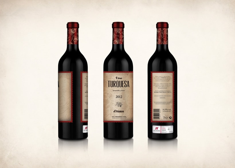 Wine Label Design: Viña Turquesa Crianza (Bodegas Pedro Moreno 1940) 12