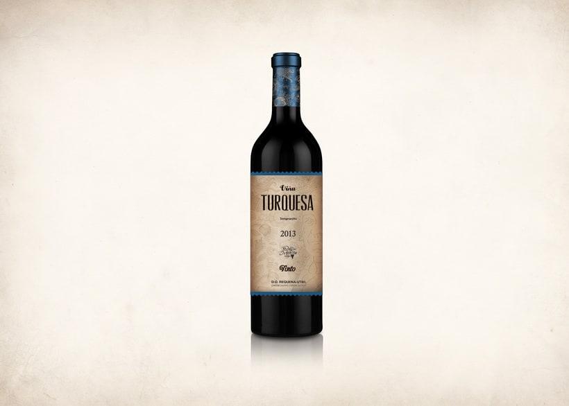 Wine Label Design: Viña Turquesa Crianza (Bodegas Pedro Moreno 1940) 14