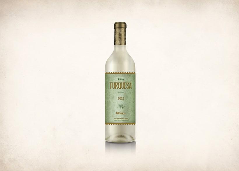 Wine Label Design: Viña Turquesa Crianza (Bodegas Pedro Moreno 1940) 16